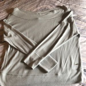 Lucky brand off shoulder waffle knit top